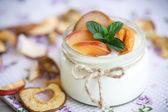 Home sweet yogurt with dried fruit  — Stock Photo