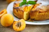 Бисквитный торт с абрикосовым — Стоковое фото