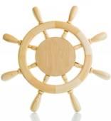 Decorative wooden steering wheel — Stock Photo