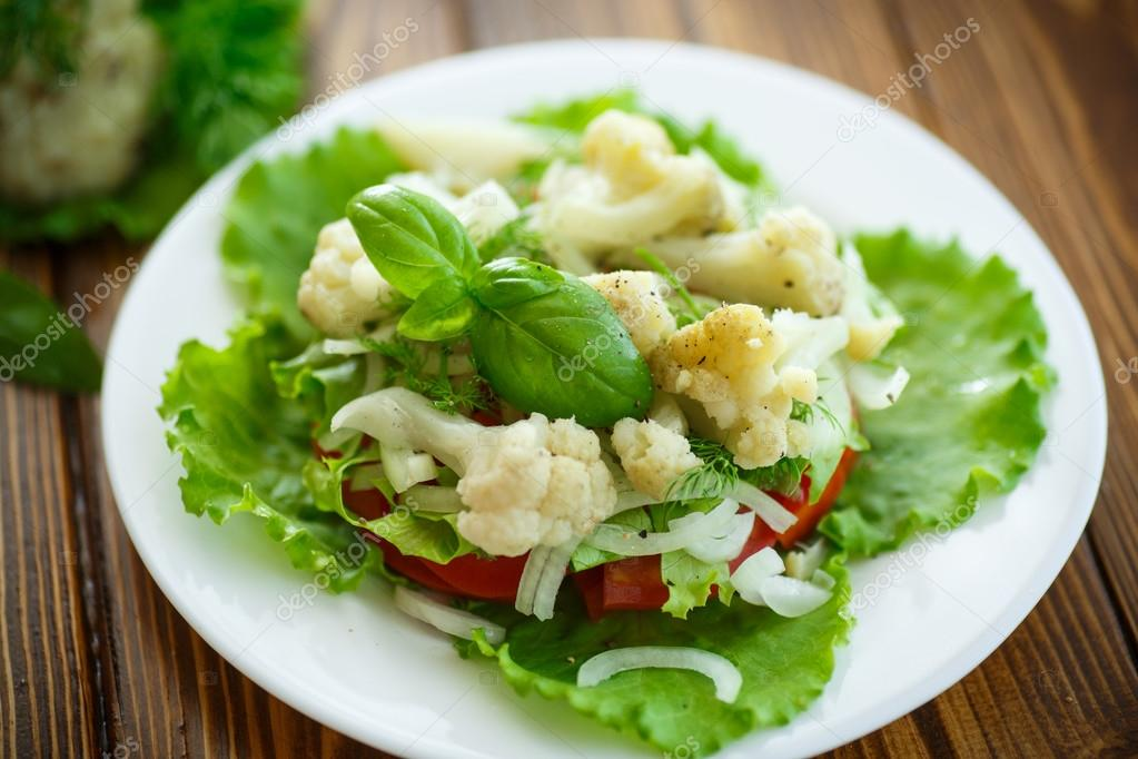 рецепты острых салатов из цветной капусты