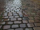 Wet cobblestone pavement — Stock Photo