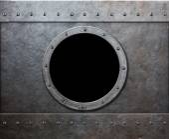 Steam punk submarine or military ship window  — Stock Photo