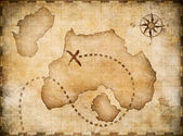 Pirates' map with marked treasure location — Stock Photo