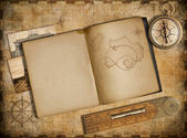 Adventure and travel concept. Vintage map, copybook and compass — Stock Photo