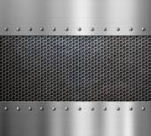 Steel metal background with rivets — Stock Photo