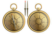 Old brass pocket compass realistic illustration isolated on whit — Stock Photo