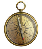 Old brass compass, realistic illustration isolated on white — Stock Photo