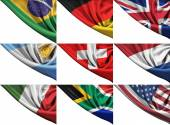 Set of different state flags including USA, UK, Germany, Italy, etc. — Stock Photo