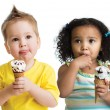 Kids boy and girl eating ice cream isolated — Stock Photo #55341425