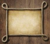 Pirate theme nautical rope frame with old paper background — Stock Photo