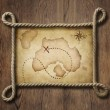 Pirate theme nautical rope frame with old treasure map — Stock Photo #55681157