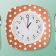 Dinner plate retro style with clock face fork an tableknife — Stock Photo #55855717
