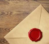Old letter envelope with wax seal isolated — Foto de Stock