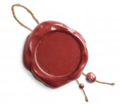 Red wax seal with rope isolated — Stock Photo