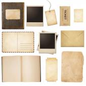 Old mail, paper, book, polaroid frames, stamp isolated — Foto Stock