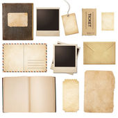 Old mail, paper, book, polaroid frames, stamp isolated — Stock Photo
