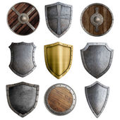 Medieval shields or badges set isolated — Stockfoto
