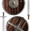 Wooden vikings shields and swords collection isolated — Stock Photo #56629853