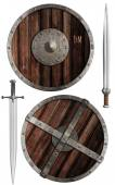 Wooden vikings shields and swords collection isolated — Stock Photo