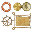Nautical objects rope, treasure map, lifebuoy, compass isolated — Stock Photo #56879771