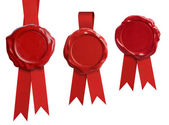 Red wax seal signets collection with ribbon or bow isolated — Stock Photo