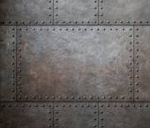 Metal texture with rivets as steam punk background or texture — Stock Photo