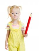 Funny kid in eyeglasses with red pencil isolated — Stock Photo