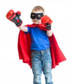 Superhero kid boy in mask playing isolated — Stock Photo
