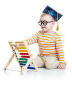 Kid in graduation cap and glasses with colorful abacus isolated on white — Stock Photo