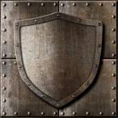 Alten Metallabschirmung über Rüstung Hintergrund — Stockfoto