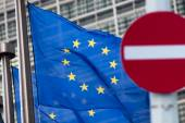 Russia sanctions. No entry sign in front of European comission flags. — Stock Photo