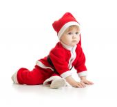Christmas baby in Santas clothes isolated — Photo