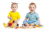 Funny kids playing educational toys isolated — Stock Photo