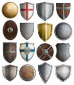 Medieval armour and knight shields assortment — Stock Photo