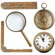 Vintage accessories set. Clock, magnifying glass, compass and ruler isolated — Stock Photo #65054297