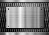 Stainless steel metal plate or nameboard background — Stock Photo