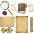 Old mail, paper, price tags, polaroid frames, wax seal, compass isolated — Stock Photo #66520063