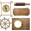 Nautical objects rope, compass, steering wheel, signboard, porthole isolated — Stock Photo #67203625