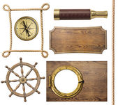 Nautical objects rope, compass, steering wheel, signboard, porthole isolated — Stock Photo