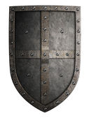 Big medieval crusaders metal shield isolated — Stock Photo