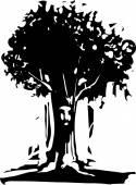 Face Tree Spirit — Vector de stock