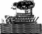 Stern wheel Riverboat in waves — Stock Vector