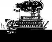 Stern wheel Riverboat in dark river — Stock Vector