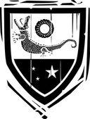 Heraldic Shield Crocodile — Stock Vector