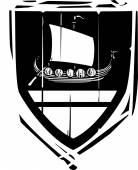 Heraldic Shield Viking Longship — Stock Vector
