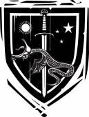Heraldic Shield Dragon Slaying — Stock Vector