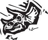 Triceratops Fossil Skull — Vector de stock
