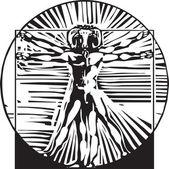 Vitruvian Goat man — Stock Vector