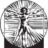 Woodcut Vitruvian Man — Stock Vector