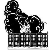 Row Home Burning — Stock Vector